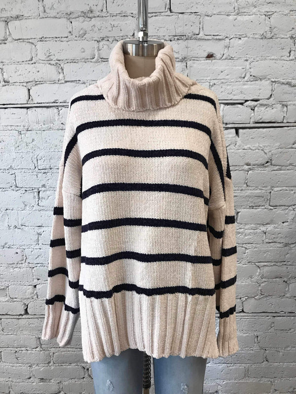 Cream Striped High-Low Turtleneck Sweater-Sweater-Yellow Umbrella