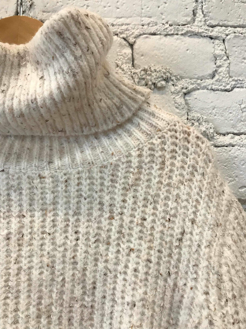 Crop Speckled Turtleneck-Sweater-Yellow Umbrella
