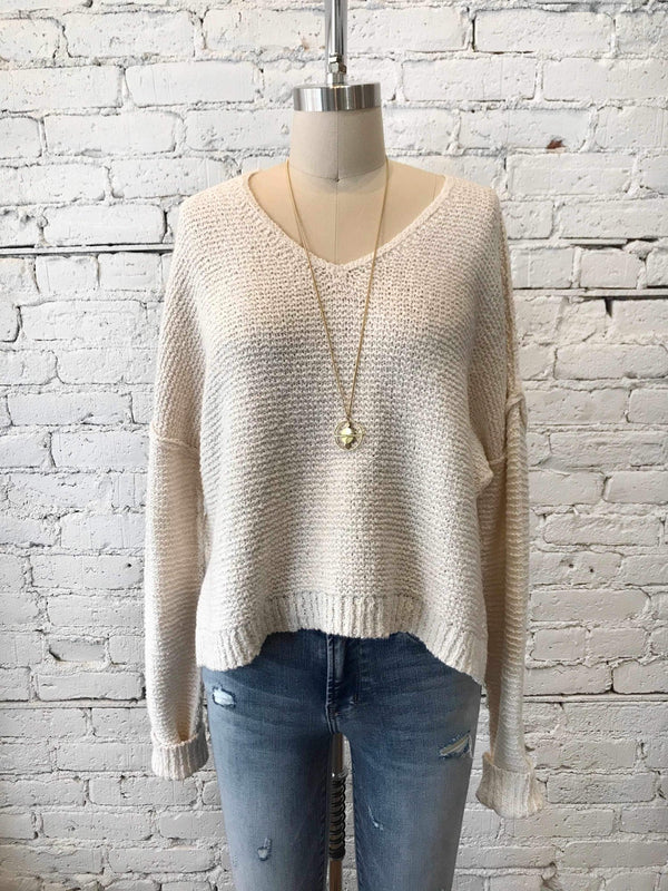 Crop V-Neck Sweater - Ivory-Sweater-Yellow Umbrella