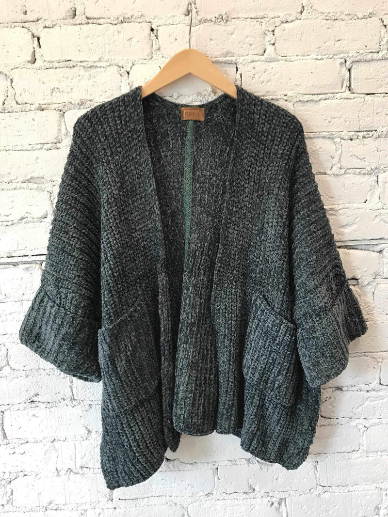 Dark Green Cropped Cardigan-cardigan-Yellow Umbrella
