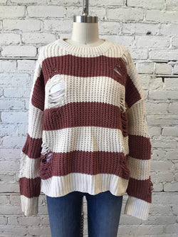 Destroyed Chenille Striped Sweater - Brick-Sweater-Yellow Umbrella