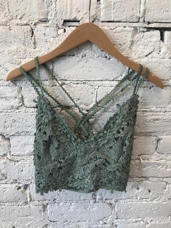 Dusty Emerald Lace Crop Top-Crop Top-Yellow Umbrella