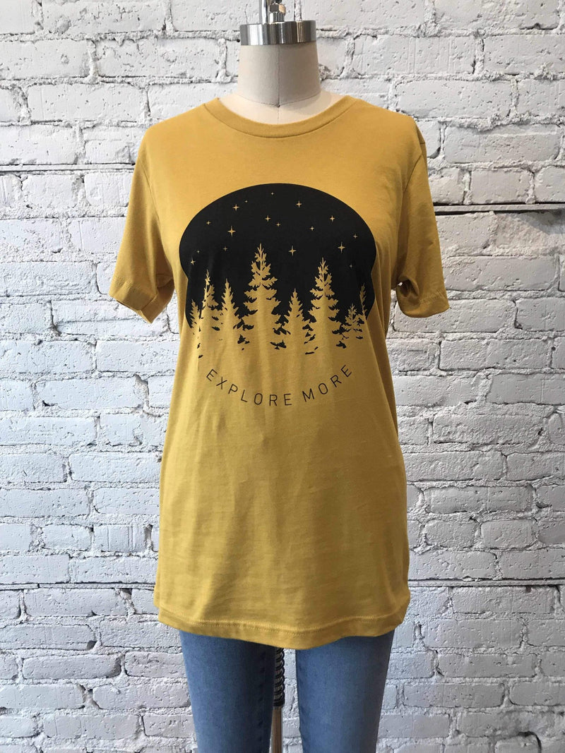 """Explore More"" Graphic T-shirt-Graphic Top-Yellow Umbrella"