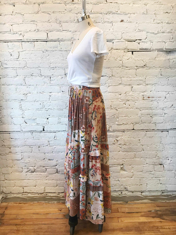 Field Guide Patchwork Maxi Skirt-maxi skirt-Yellow Umbrella