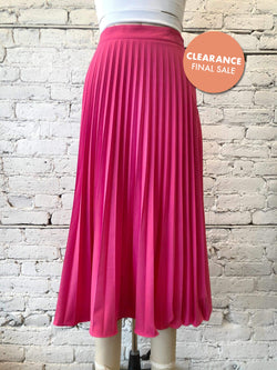 Flared Pleated Skirt - Fuchsia-Skirt-Yellow Umbrella