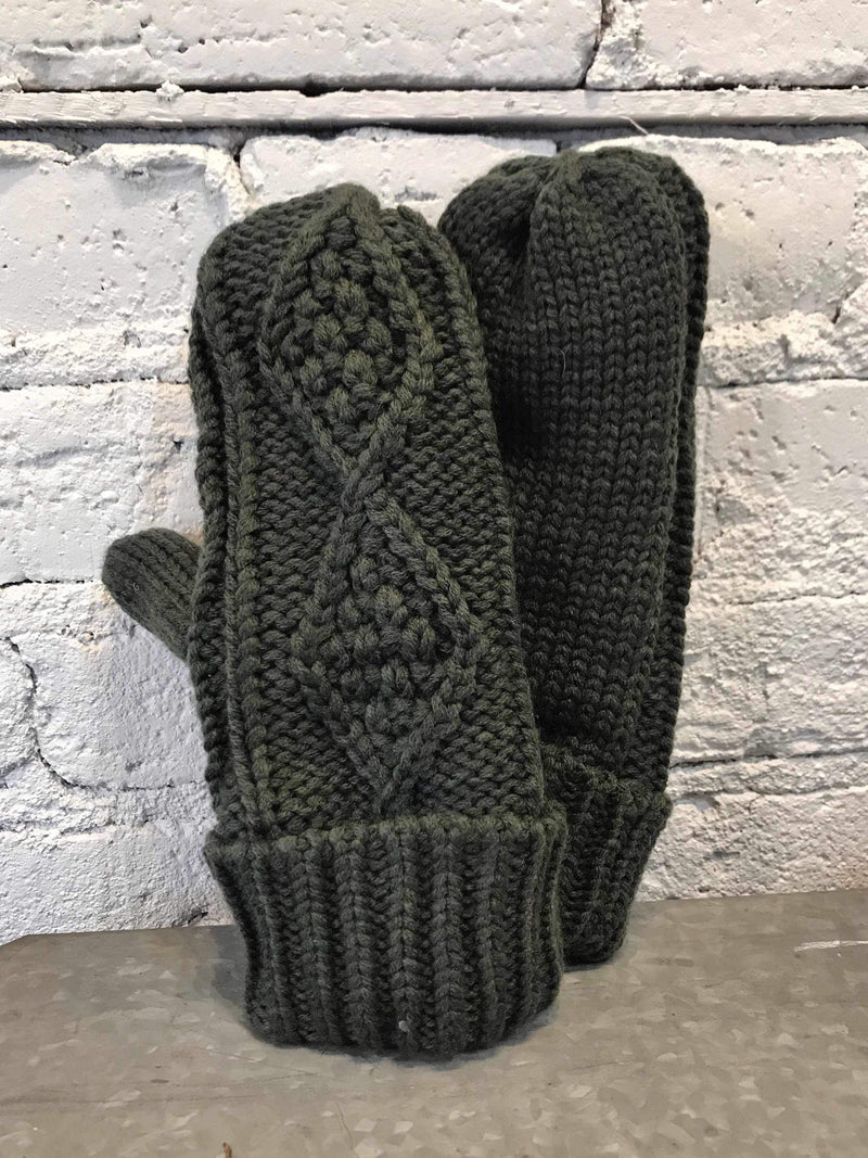Fleece Lined Mittens - Olive-Mittens-Yellow Umbrella