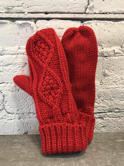 Fleece Lined Mittens - Red-Mittens-Yellow Umbrella