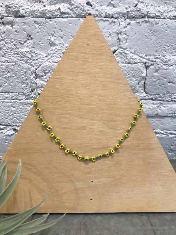 Flower Chain Seed Bead Choker-Jewelry-Yellow Umbrella