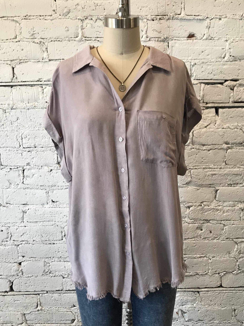 Frayed Hem Button-Up Top - Mauve-Button-Up-Yellow Umbrella