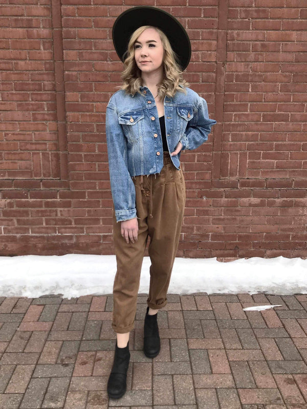 Free People Amelia Trucker Jacket-Denim Jacket-Yellow Umbrella