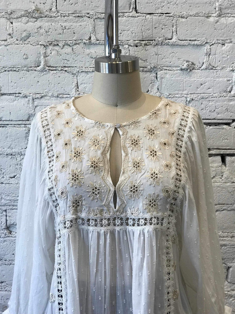 Charlotte Tunic- Ivory-Yellow Umbrella