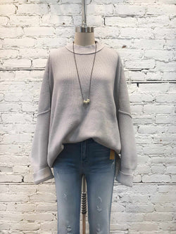 Free People Easy Street Tunic - Grey-Long Sleeve-Yellow Umbrella
