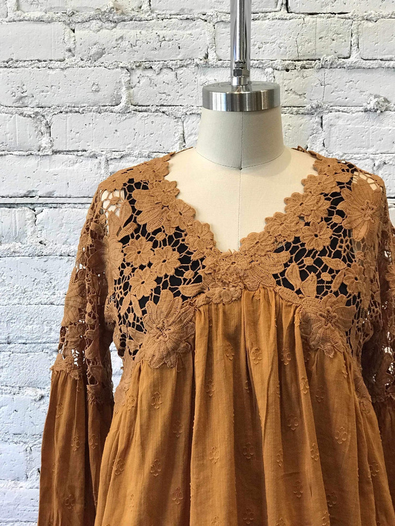 Lina Lace Top - Bronze-Yellow Umbrella