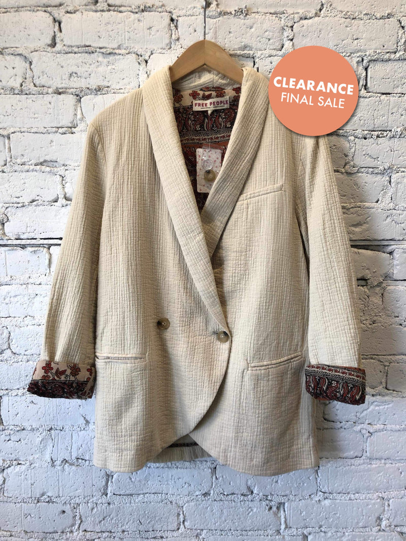 Free People Rowan Blazer - Ivory-Blazer-Yellow Umbrella