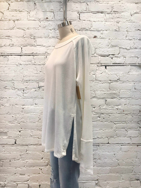 Free People Snowy Thermal - White-Long Sleeve-Yellow Umbrella