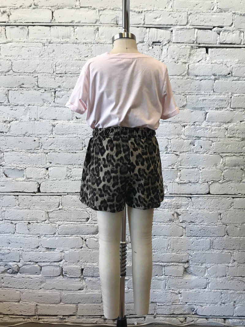 Girls Leopard Knit Shorts-Girls Shorts-Yellow Umbrella