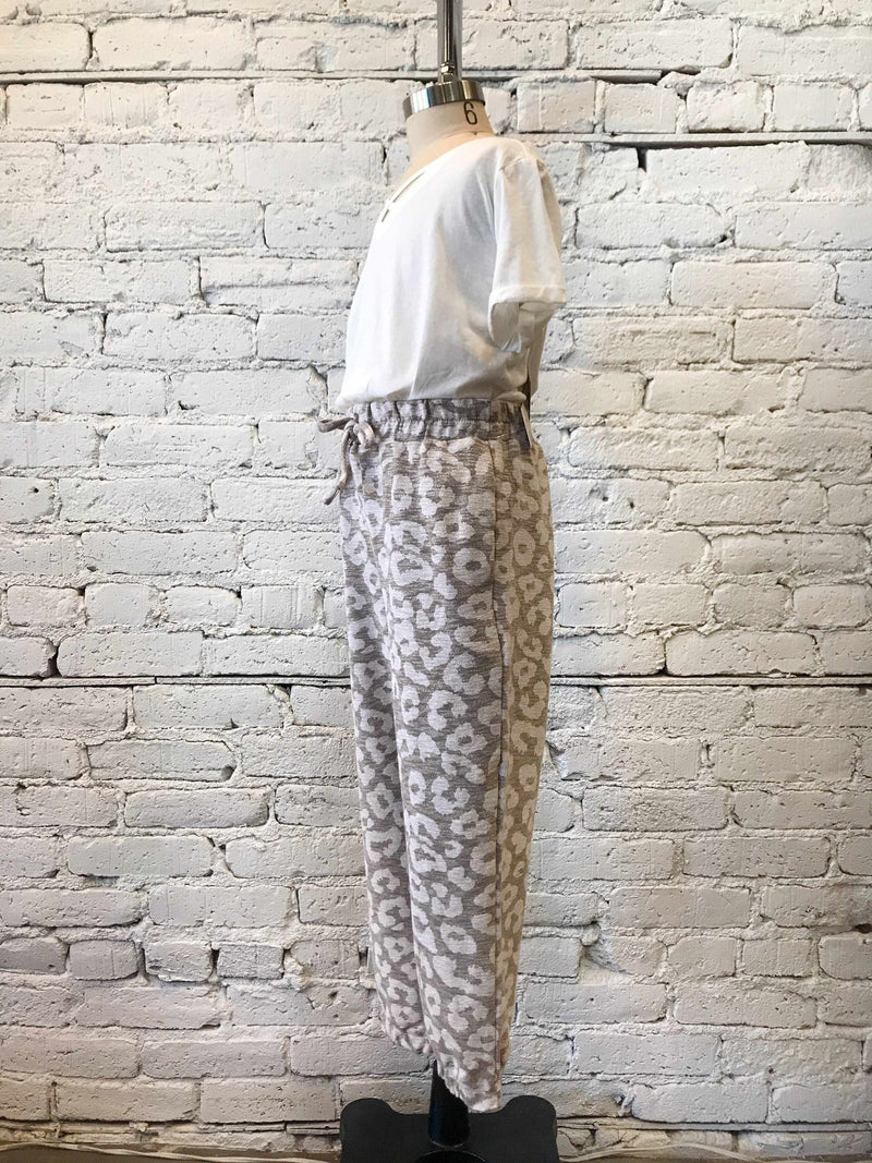 Girls Leopard Taupe Joggers-Girls Pants-Yellow Umbrella