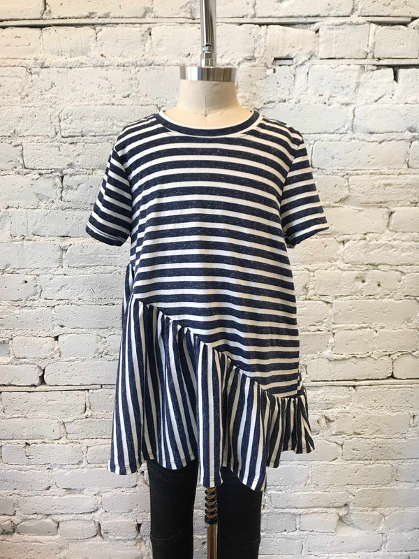 Girls Navy Striped Tee-Girls Shirt-Yellow Umbrella
