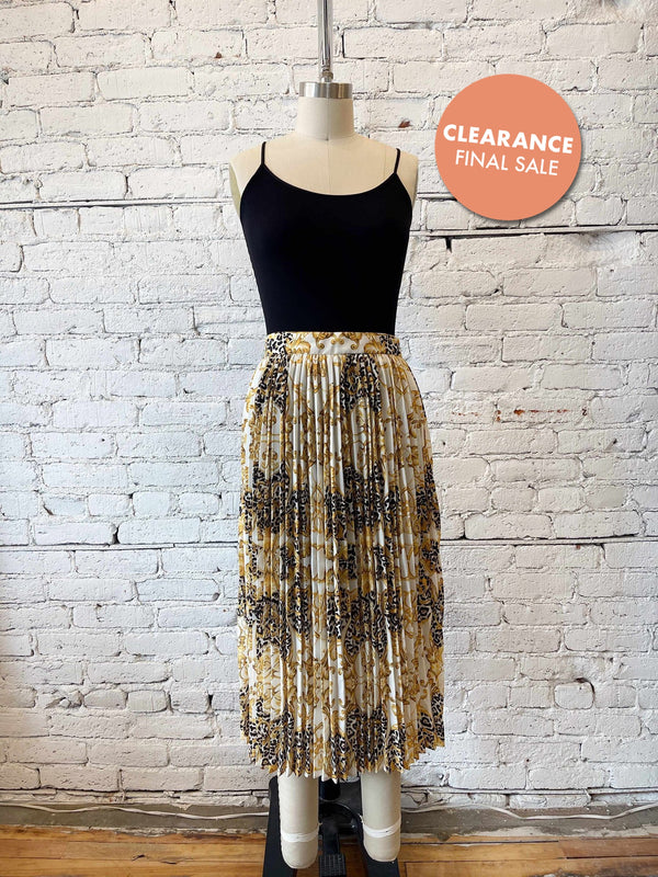 Gold Pattern Pleated Midi Skirt-Skirt-Yellow Umbrella