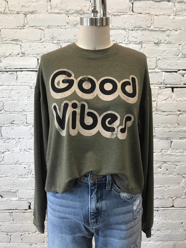 """Good Vibes"" Long Sleeve-Crop Top-Yellow Umbrella"
