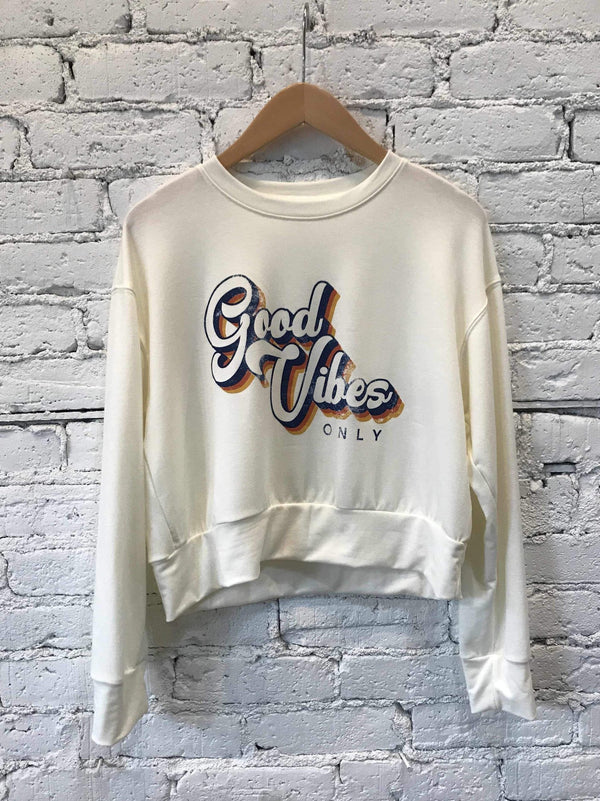 """Good Vibes Only"" Crewneck-Crop Top-Yellow Umbrella"