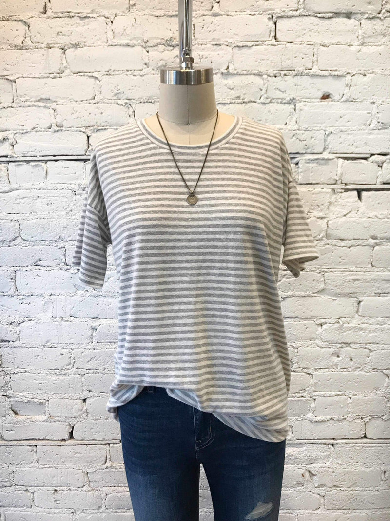 Grey Simple Stripe Wheaton Tee-Tee-Yellow Umbrella