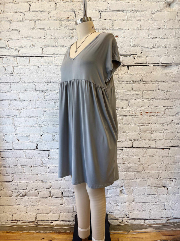 Grey V-Neck Babydoll Dress - Plus-Plus Size Dress-Yellow Umbrella