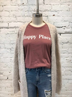 Happy Place Tee-T Shirt-Yellow Umbrella