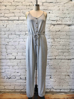 Heather Gray Jogger Jumpsuit-Jumpsuit-Yellow Umbrella