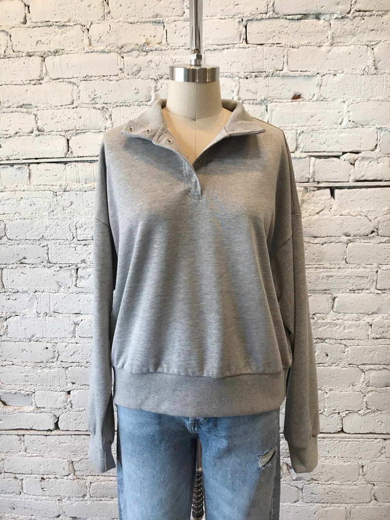 Heather Gray Mock-Neck Pullover-Pullover-Yellow Umbrella