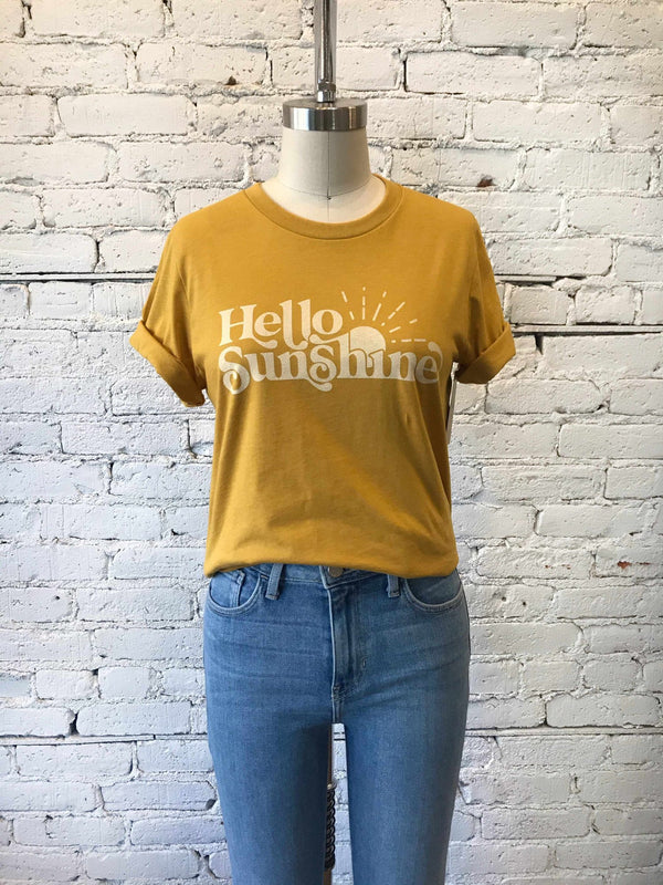 Hello Sunshine Graphic Tee-graphic tee-Yellow Umbrella