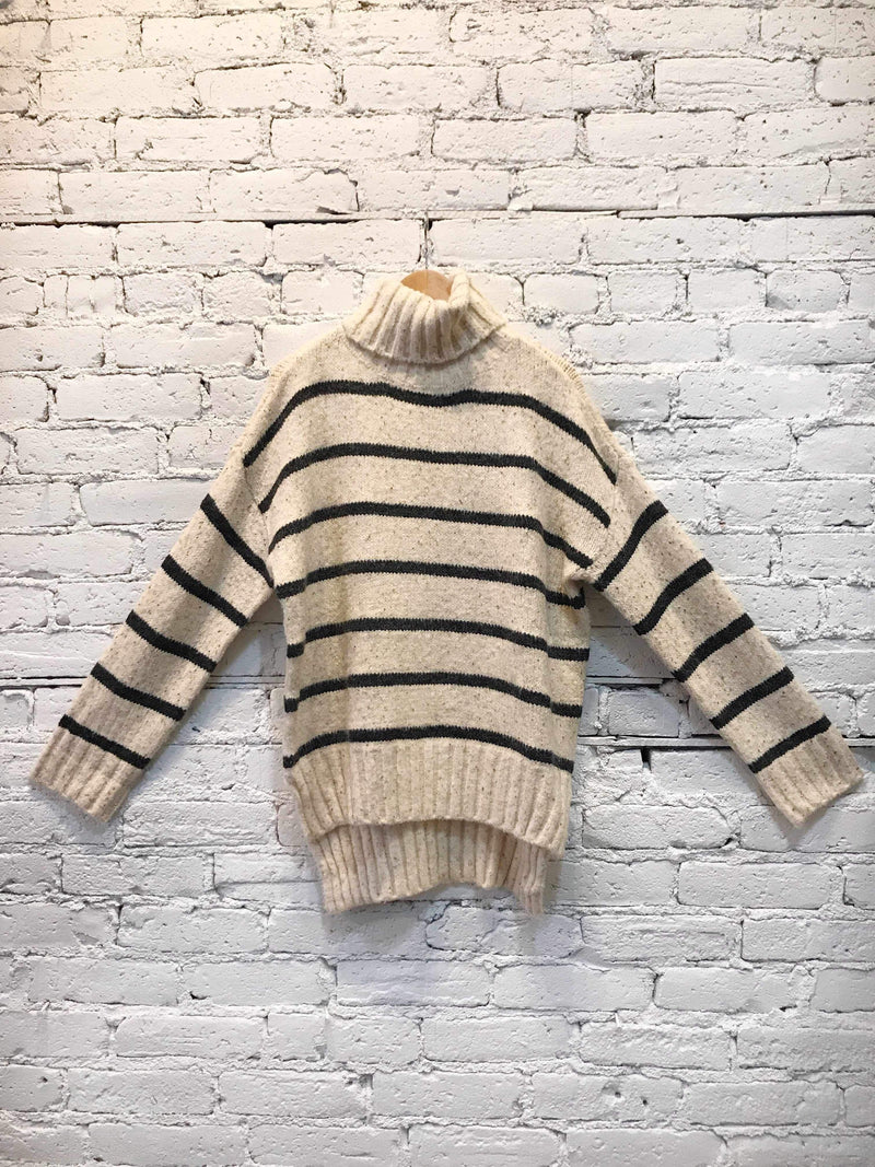 High-Low Striped Turtleneck Sweater-Sweater-Yellow Umbrella