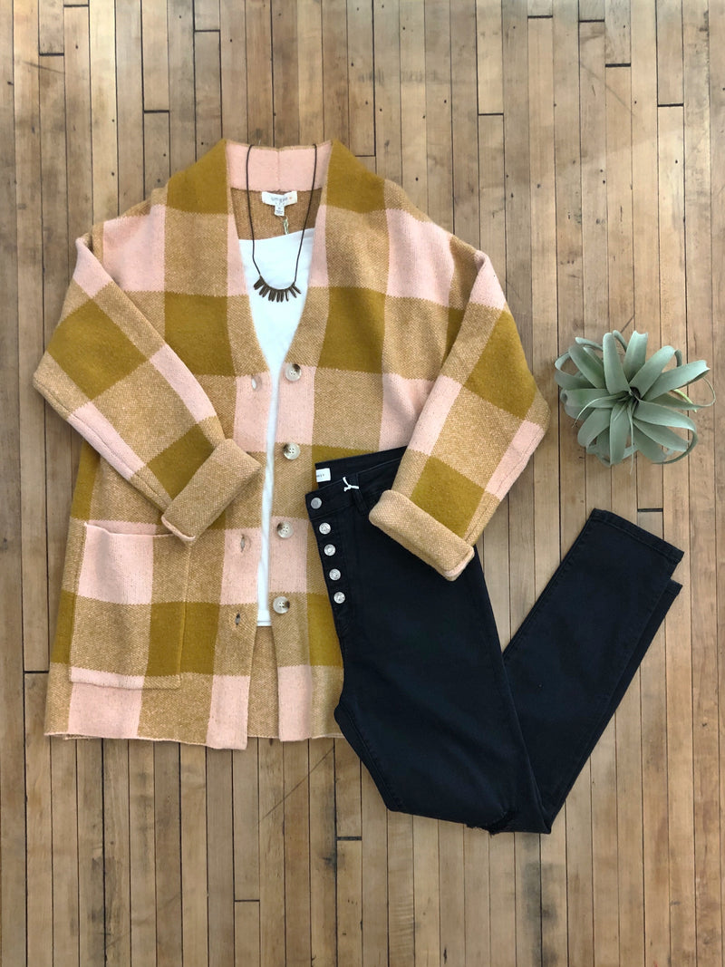 Plaid Pink Jacket Sweater-Plus