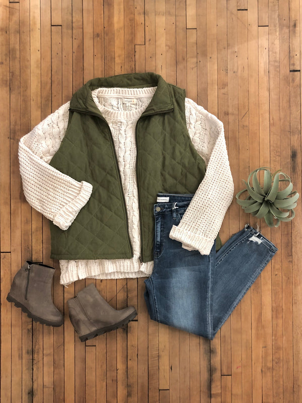 Olive Quilted Vest-Plus