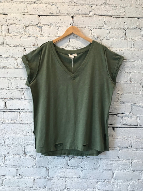Distressed Hem V-Neck Tee - Plus