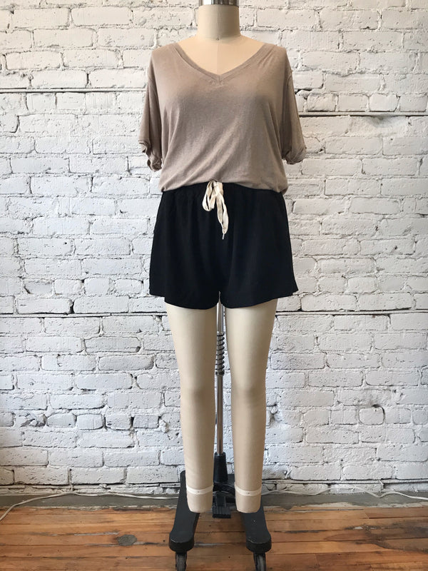 Black High Waisted Tie Shorts - Plus