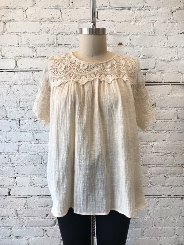 Cream Lace Yoke Top - Plus