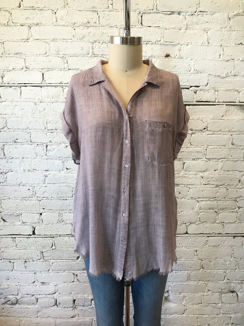 Button-Up Frayed Hem Top - Plus