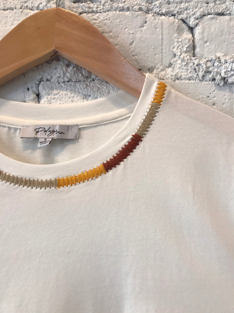 Embroidered Neck Tee - Ivory