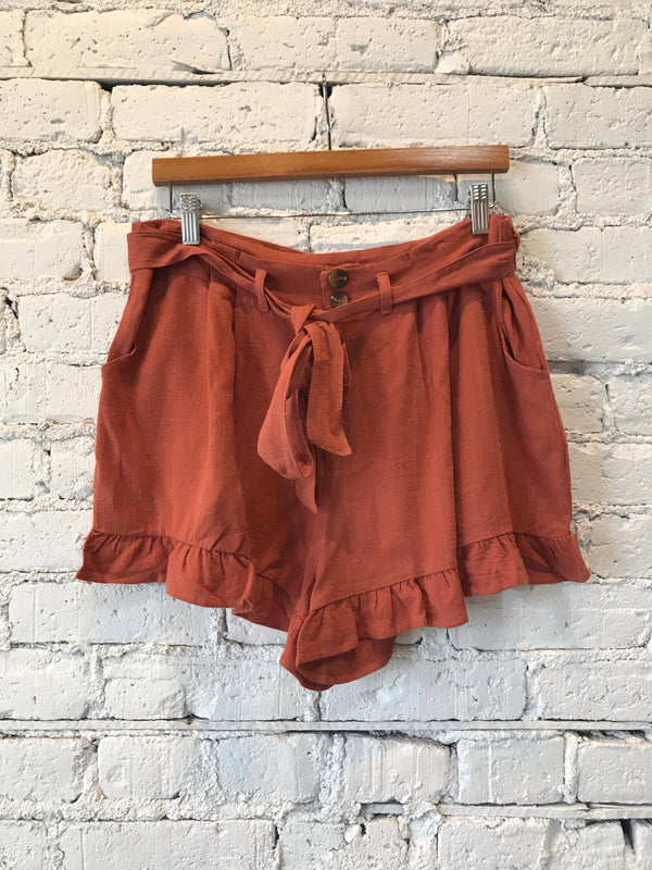 Terracotta Ruffle Hem Shorts - Plus
