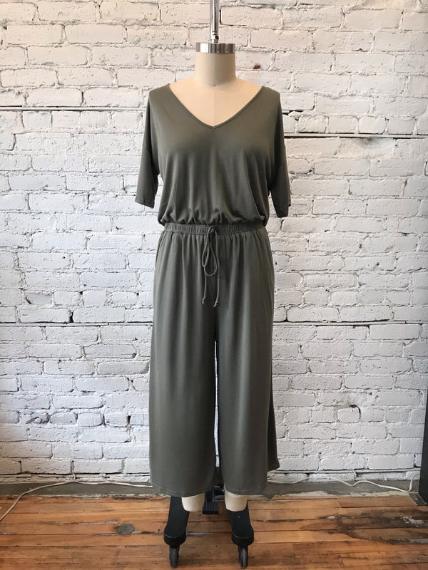 Olive Wide-Leg Cropped Jumpsuit - Plus