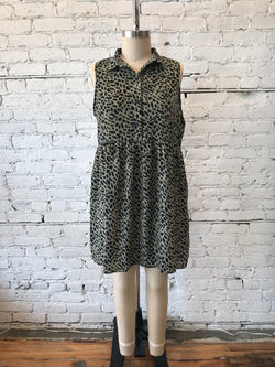 Olive Animal Print Collared Dress - Plus