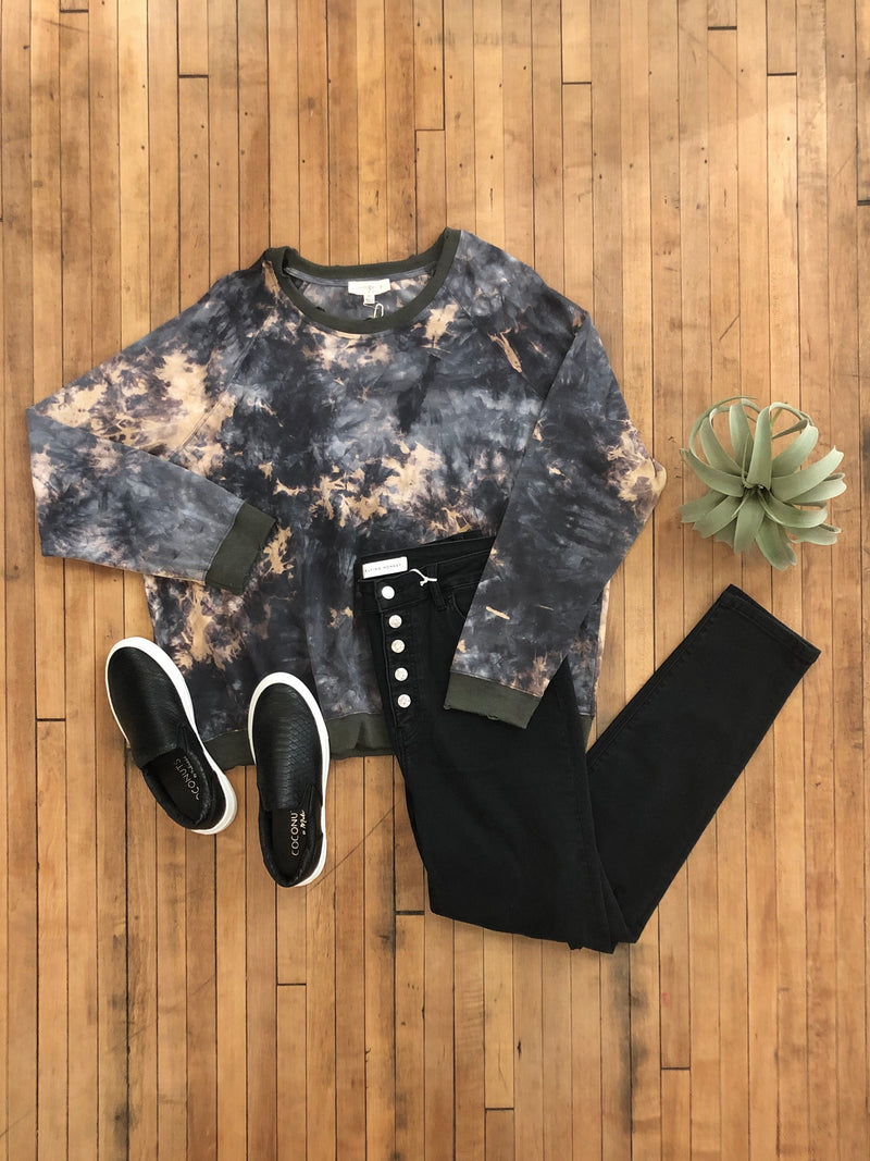 Gunmetal Tie-Dye Long Sleeve-Plus