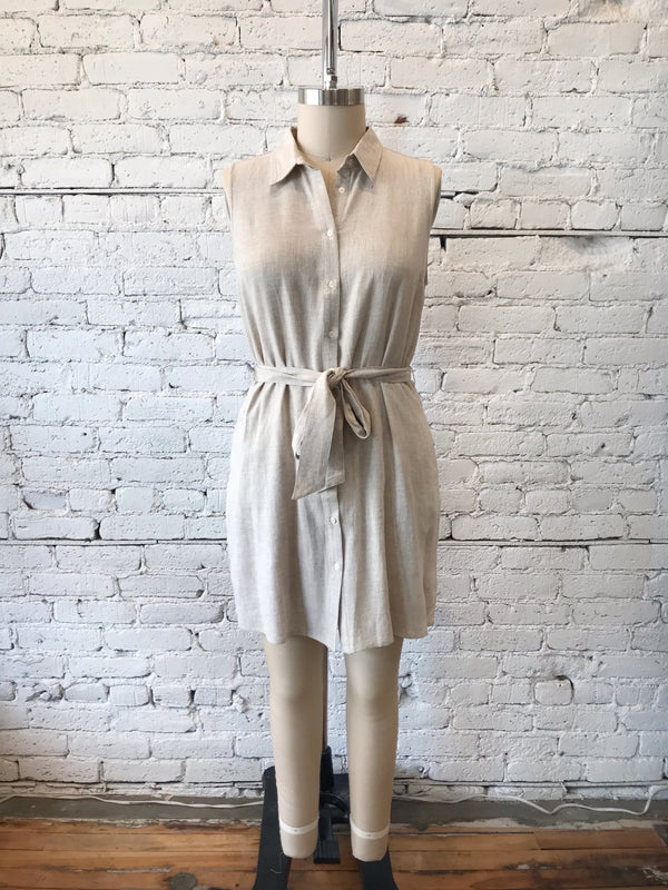 Button-Up Tie Waist Dress - Plus