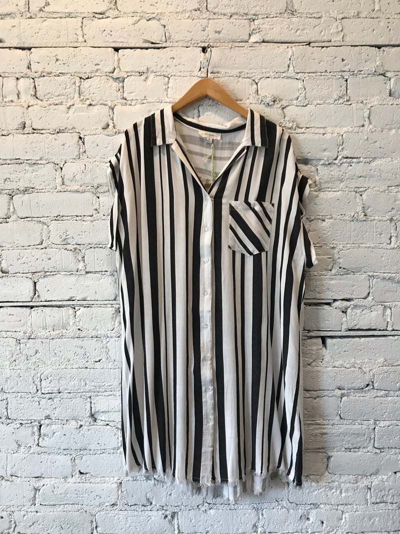 B&W Striped Frayed Hem Dress - Plus