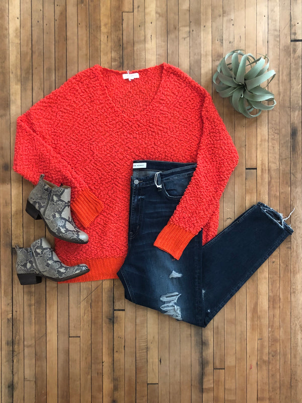 Poppy Red Popcorn Knit Sweater-Plus