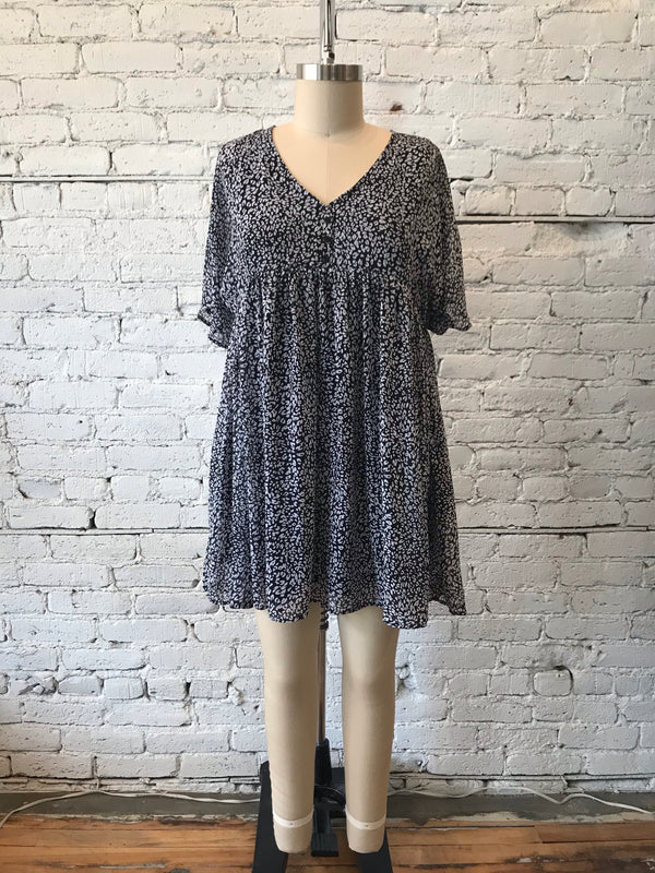 Animal Print Babydoll Dress - Plus