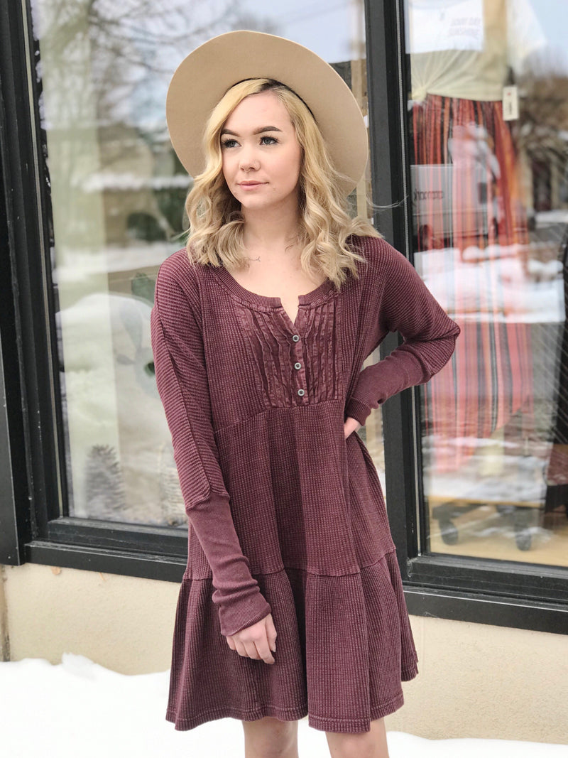 Free People Jolene Mini Dress - Wine