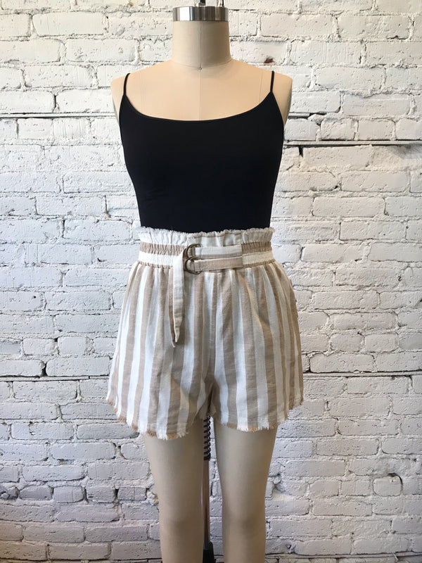 Latte Striped Shorts - Plus