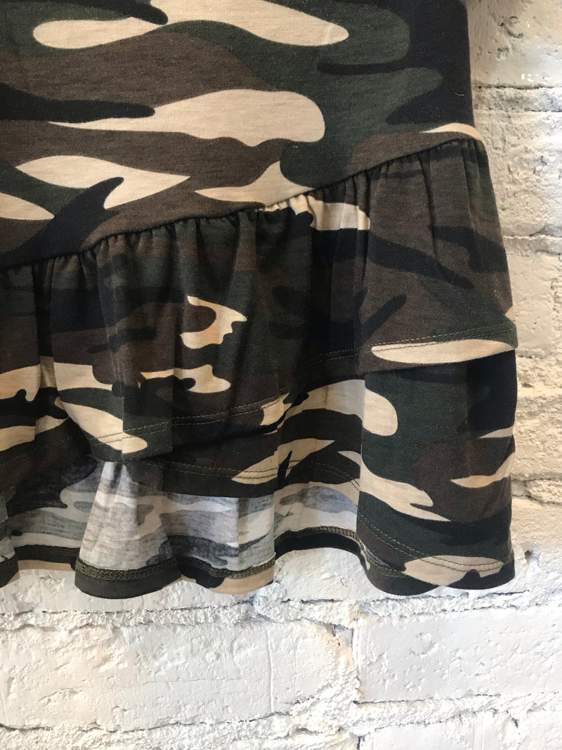 Camo Ruffle High/Low Tee- Girls